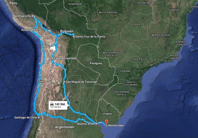 Reiseroute Panam 3